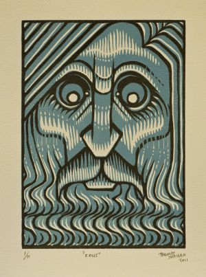 Zeus - Reduction Linocut
