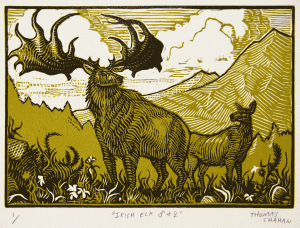 rish Elk - Reduction Linocut on Paper